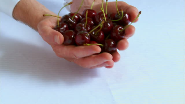 CU, Man's cupped hands holding red cherries
