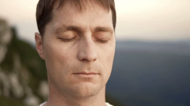 HD: Man's Face During Meditation