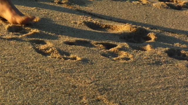 CU, Man's feet walking on beach, North Truro, Massachusetts, USA