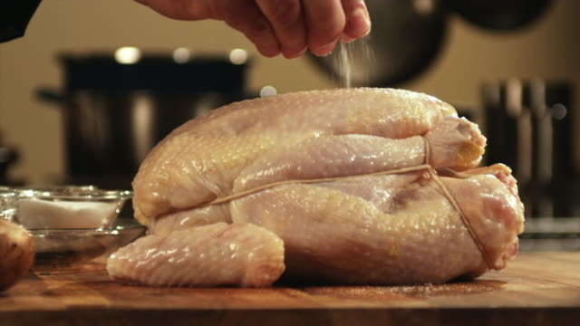 SLO MO, CU, PAN, Man's hand pouring salt on chicken