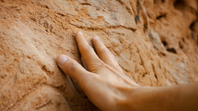 man's hand touching old wall - touching stock videos & royalty-free footage
