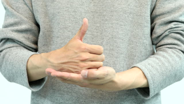 man's hands joining thank you challenge (relay hashtag campaign in sns using sign language to express gratitude to medical workers on the frontlines of covid-19) - sign stock videos & royalty-free footage