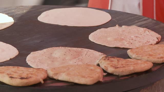 cu man's hands making tortillas at market / cuernavaca, morelos, mexico - tortilla flatbread stock videos & royalty-free footage