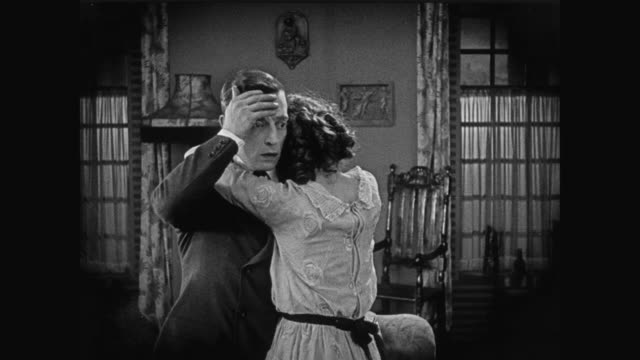 1920 Man's (Buster Keaton) love feelings for woman are reciprocated