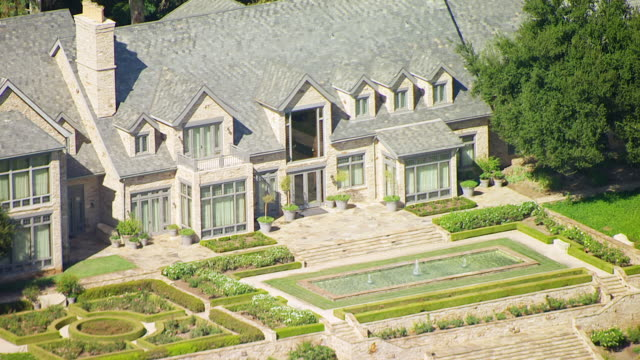 WS ZO AERIAL POV Mansion and gardens at Church of Scientology's Gold Base compound / Gilman Hot Springs, California, United States