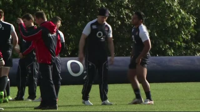 manu tuilagi to miss world cup after pleading guilty to police assault; file: date unknown: surrey: bagshot: pennyhill park hotel: manu tuilagi with... - ミス・ワールド点の映像素材/bロール
