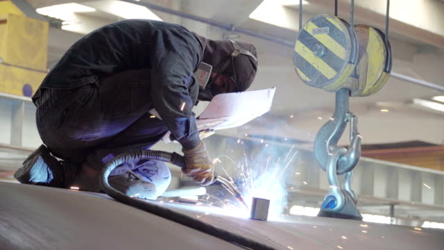 manual welding by worker on autoclave tube - aerospace stock videos & royalty-free footage