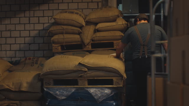 manual worker inspecting sacks in warehouse - bag stock videos & royalty-free footage