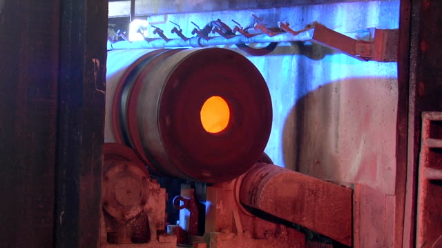 manufacture of steel pipes - steel mill stock videos & royalty-free footage