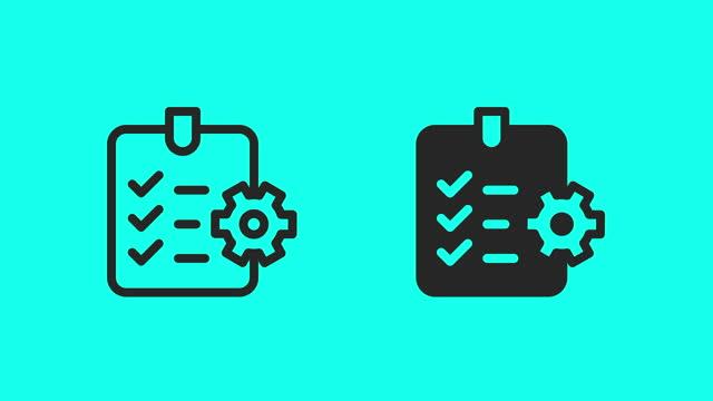 vidéos et rushes de icônes de liste de contrôle fabriquées - vector animer - développement