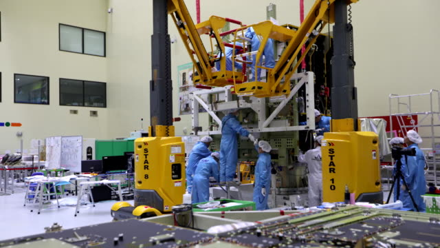 manufactured korea's chollian-2a satellite in korea aerospace research institute - engineering stock videos & royalty-free footage