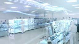 Manufacturing Facility Workers Assembling Products Using Industrial High Precision Machinery. Special Effects Animation: Digitalization of Factory
