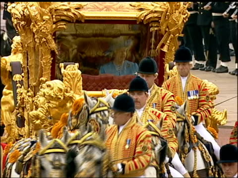 manufacturing figures worst for 20 years lib queen elizabeth ii prince philip duke of edinburgh sitting in golden state coach as along during golden... - golden jubilee stock videos & royalty-free footage