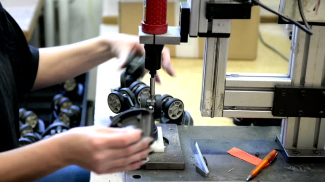 manufacturing line with automatic drill press - czech republic stock videos & royalty-free footage
