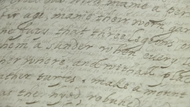 manuscript in the archbishop of canterbury's library revealed to have been written by queen elizabeth i england int close shot of manuscript written... - elizabeth i of england stock videos & royalty-free footage