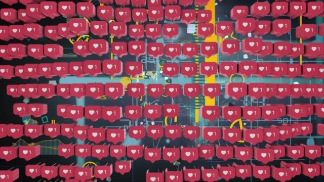 many 3d social media notifications love like heart icon 3d social media notification love like heart icon in red - notifications stock videos & royalty-free footage