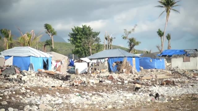 many are still living in makeshift shelters after their homes were destroyed five months ago during hurricane matthew - haiti stock-videos und b-roll-filmmaterial