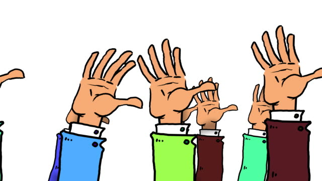 many cartoon hands pop up, wave and go down again - matte stock videos & royalty-free footage