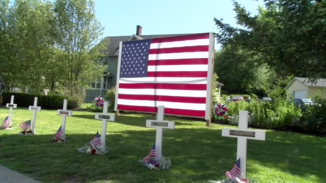 vidéos et rushes de many crosses with small american flags and poppies - salmini