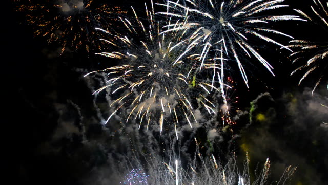 many fireworks of new years Festival of Thailand in Bangkok at Wat arun