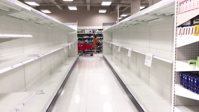 many have reported empty shelves of bath tissue and toilet paper, like these at target in west hollywood, california, but it's more interesting to... - shelf stock videos & royalty-free footage