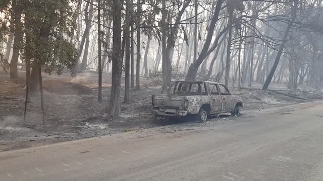 many houses and cars burnt in the wildfire that broke out tuesday afternoon in a forest in the varybobi area in the northeast of greece's attica... - greece stock videos & royalty-free footage