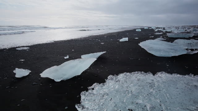 ms many melting glaciers on black sand beach / iceland - icecap stock videos and b-roll footage
