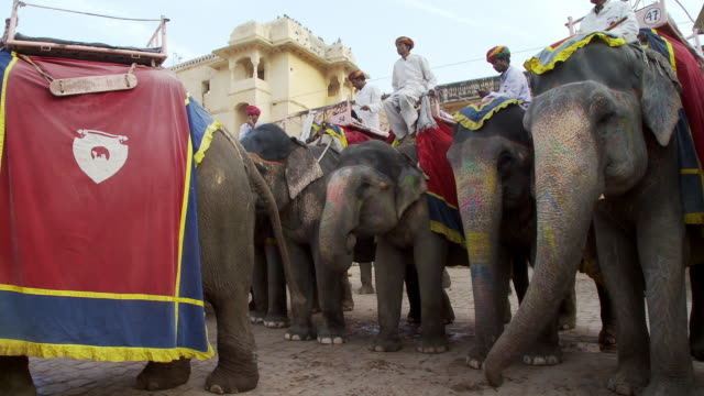 Many men on painted elephants in a town square.