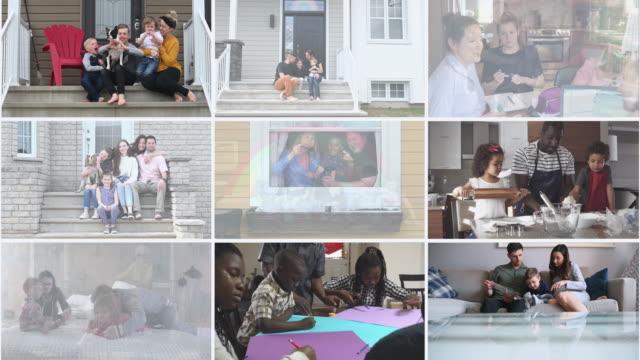 stockvideo's en b-roll-footage met vele multi etnische familiesportret thuismontage - collage