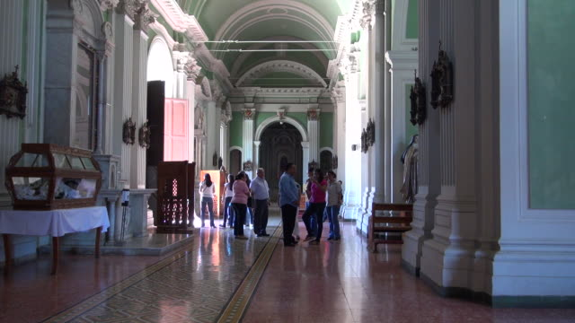 many people going in and out of the church - nicaragua stock videos and b-roll footage