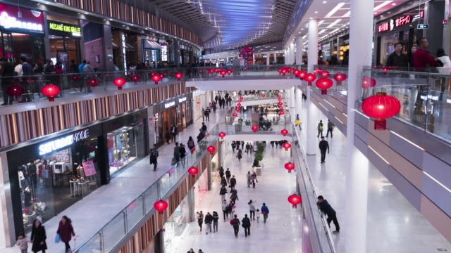 T/L WS HA TU Many People in Shopping Mall, Lantern Festival / Beijing, China