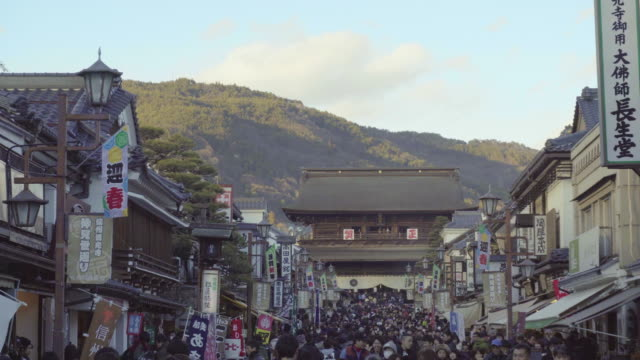 many people in zenko-ji, nagano, japan, asia - shinto shrine stock videos & royalty-free footage