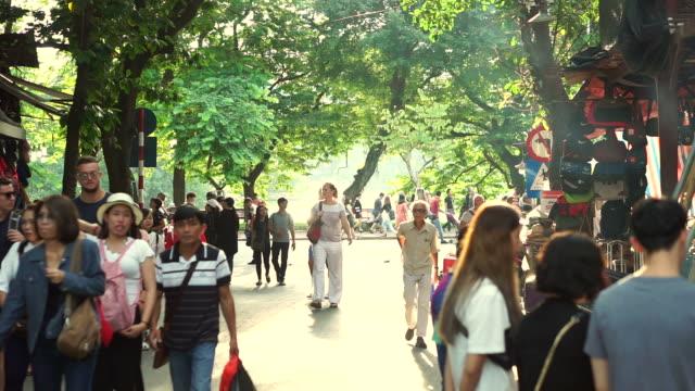 many people walking in walking street in hanoi, vietnam - north vietnam stock videos & royalty-free footage
