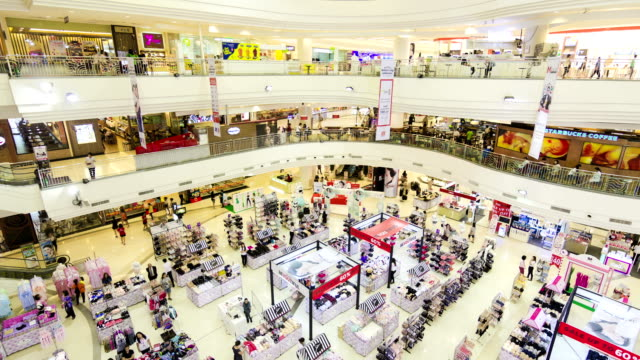 Many poeple in shopping mall,High angle view