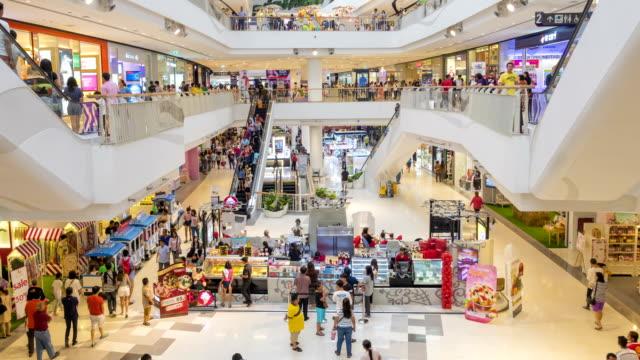 viele personen in der shopping-mall, zeitraffer - einkaufszentrum stock-videos und b-roll-filmmaterial