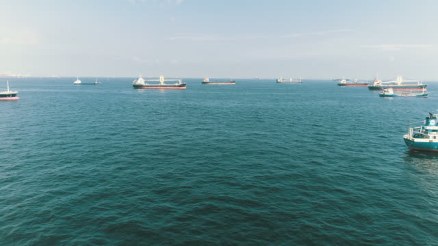 many ships and horizon on the sea - tanker stock videos & royalty-free footage