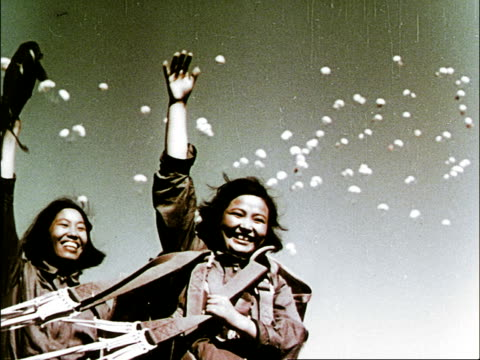 vídeos y material grabado en eventos de stock de many skydivers leaping from planes and parachutes opening and drifting to earth in front of applauding crowds / parachutists landing in field and... - mao tse tung