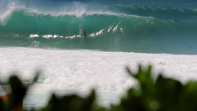 vídeos de stock, filmes e b-roll de many surfers cresting a big wave, one bodyboarder catching it & wiping out - pipeline wave