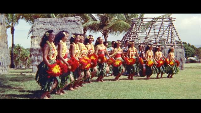 ms many teenage girls doing hula / honolulu, hawaii, united states - hawaiian culture stock videos & royalty-free footage