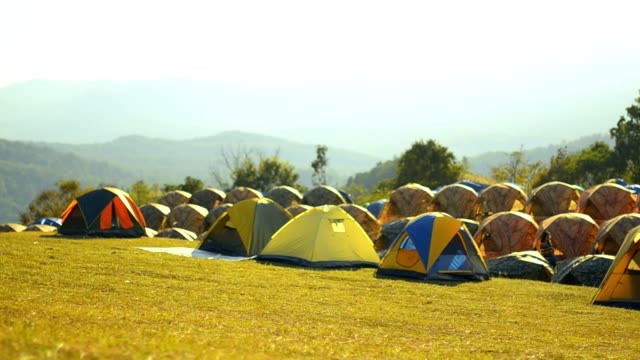 many tent in camping area