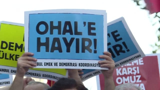 many thousands of flag waving turks massed sunday for the first cross party rally to condemn the coup attempt against president recep tayyip erdogan... - law stock videos & royalty-free footage