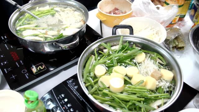 many vegetable in two sukiyaki pots at home - sukiyaki stock videos and b-roll footage