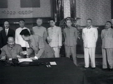 mao and khrushchev sign on common declaration and shaking hands audio / beijing, pekin, peking, bei-jing, china - 1958 stock videos & royalty-free footage