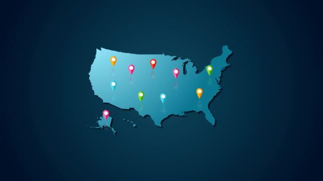 vídeos y material grabado en eventos de stock de 4k usa mapa y ubicación - ubicaciones geográficas