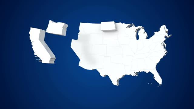vidéos et rushes de carte des usa par états 4k - géographie physique