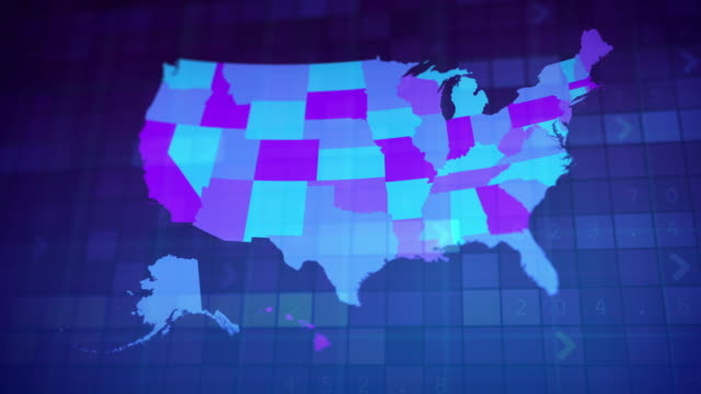 usa map by states (1 of 8) al, ak, az, ar, ca, co, ct. loopable. - physical geography stock videos & royalty-free footage