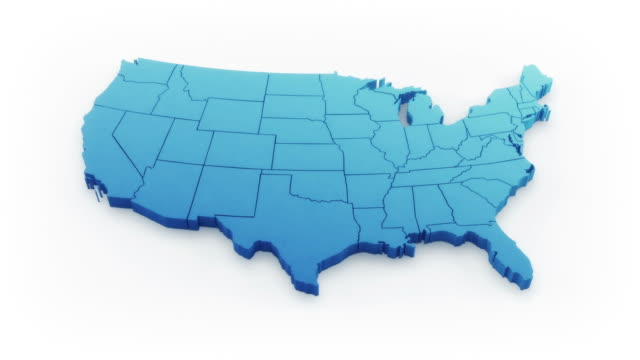 stockvideo's en b-roll-footage met usa map by states. blue version. - kaart