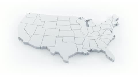 usa map by states. white version. - kartografi bildbanksvideor och videomaterial från bakom kulisserna