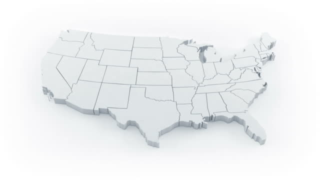 stockvideo's en b-roll-footage met usa map by states. white version. - kaart