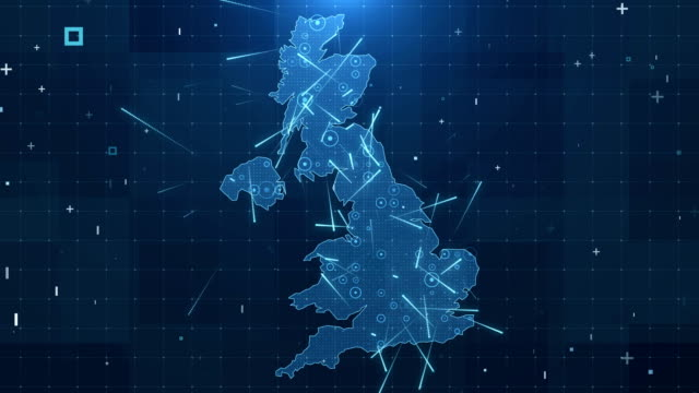 uk map connections full details background 4k - broadcasting stock videos & royalty-free footage